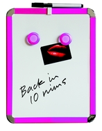 A4 Magnetic Whiteboard 21 by 28 cm. Pink. Includes whiteboard pen with eraser & 2 magnets