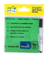 GREEN Magic Sticky Notes Pad - 50 sheets - includes free pen