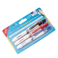 Magic Clicky Markers (save £1.48) - 3 pack Black/Blue/Red - Retractable dry erase markers (no top to lose)