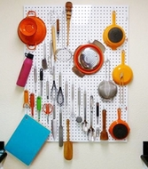 Kitchen White Pegboard with 18 pegs - Large - 80 by 60cm