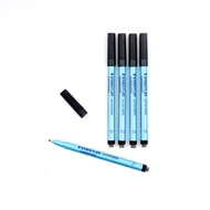5 Correctable Dry Erase Pens - BLACK - FINE TIP