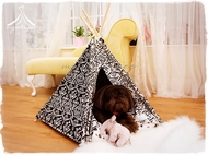 Deluxe pet teepee for dogs & cats - includes comfy cushion
