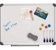 Magnetic Whiteboard 45 x 60cm. Includes 4 whiteboard markers, 1 whiteboard eraser & 6 magnets