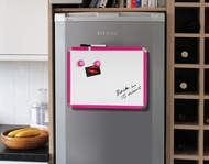 Fridge Magnetic Whiteboard 28 by 36 cm. Pink. Includes whiteboard pen with eraser & 2 magnets