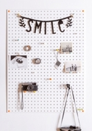 White Pegboard with 18 Pegs - Large - 80 by 60cm