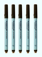 5 Correctable Dry Erase Markers - BLACK - FINE TIP