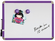 Fridge Magnetic Whiteboard 28 by 36 cm. Purple. Includes whiteboard pen with eraser & 2 magnets