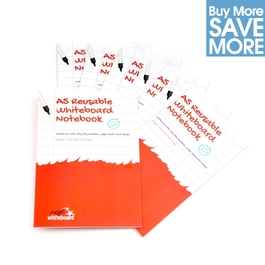 Class Pack 1/2 PRICE - 30 A5 Ruled with margin -  White Reusable Magic Whiteboard Notebooks  ™ - 8 pages