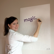 A1 Gridded White Magic Whiteboard ™ - 25 sheet roll and FREE Magic Clicky Marker