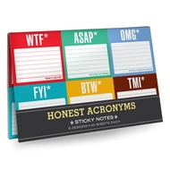 Knock Knock Sticky Notes - Honest Acronyms. Pack of 6