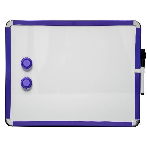 Magnetic Whiteboard 28 by 36 cm. Blue. Includes whiteboard pen with eraser & 2 magnets