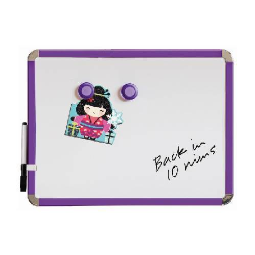 Magnetic Whiteboard 28 by 36 cm. Purple. Includes whiteboard pen with eraser & 2 magnets