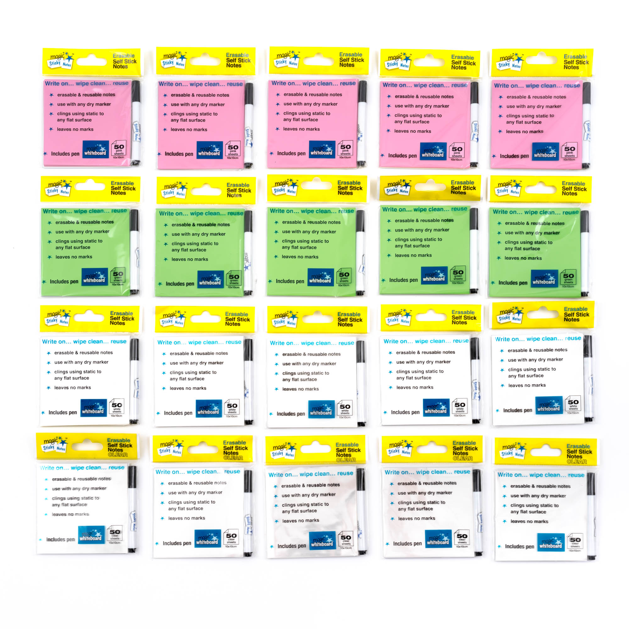 static notes, magnetic notes, sticky notes, multi pack post its,20 packs of erasable Magic Sticky Notes