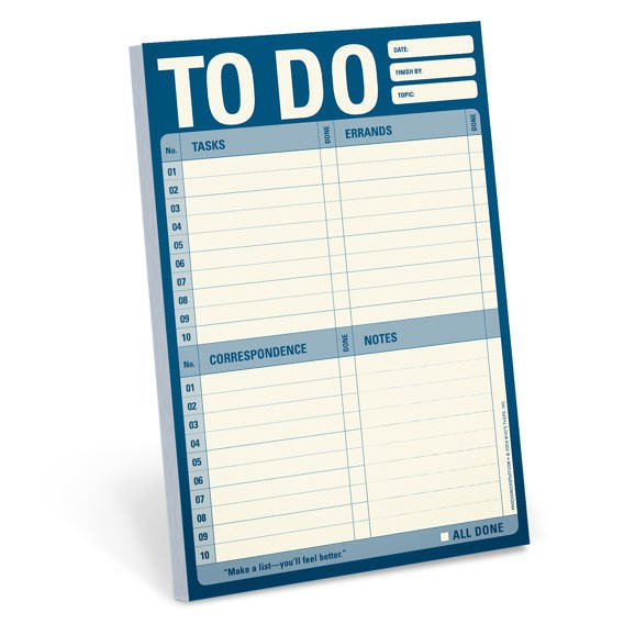 Knock Knock pads, Knock Knock stationery, to do list, shopping list, to do list pad, shopping list pad, shopping notepad,
