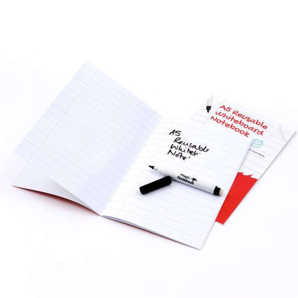 a5 ruled with margin reusable whiteboard notebook