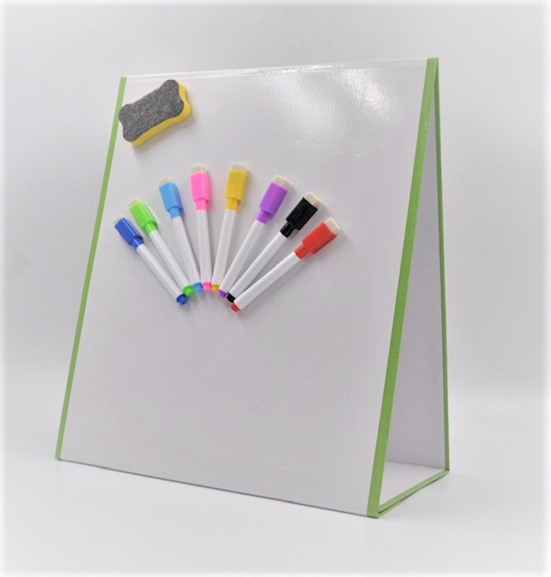 NEW - Folding tabletop magnetic dry erase whiteboard easel - Double sided -  A3 Wedge whiteboard, Foldable wedge whiteboards.
